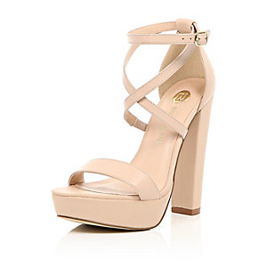 Light pink leather platform heels