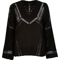 Black lace trim lattice neck blouse