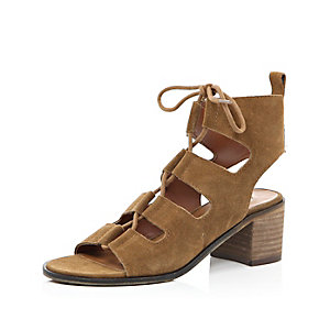 Brown suede lace-up sandals