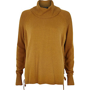 Dark yellow lace-up side knitted jumper