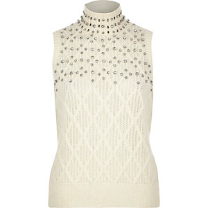 Cream embellished knitted sleeveless top