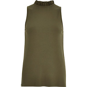Khaki high ruffle neck sleeveless top