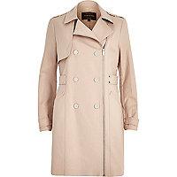 Light pink smart zip-up mac coat