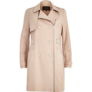 Light pink smart zip-up mac coat