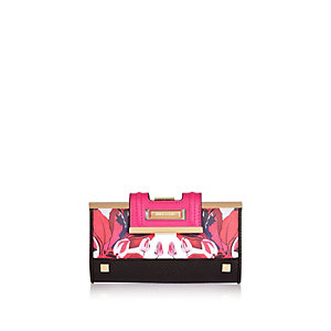 Pink floral print flapover purse