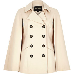 Light beige double breasted trench cape