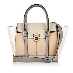 Beige padlock winged tote handbag