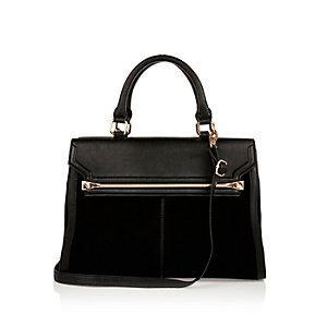 Black double sided tote handbag