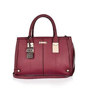 Dark red hinge handle large tote handbag