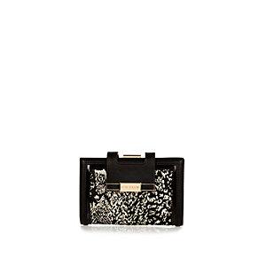 Black jacquard clip top purse