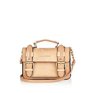 Beige faux suede mini satchel handbag