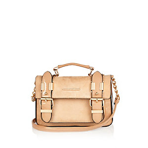 Beige faux suede mini satchel handbag