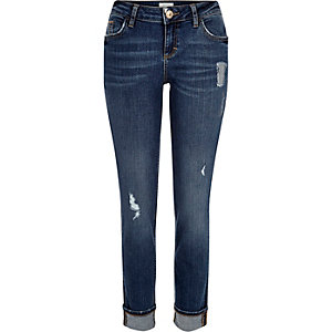 Mid wash distressed Daisy slim jeans