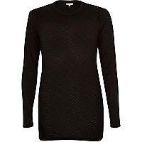 Black mesh skinny long sleeve top