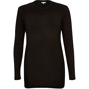 Black mesh skinny long sleeve top