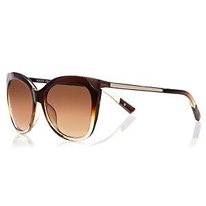Dark brown metal detail cat eye sunglasses