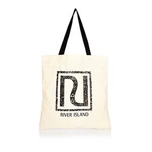 Beige snake print RI shopper tote bag