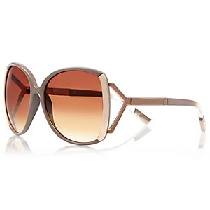 Beige oversized sunglasses