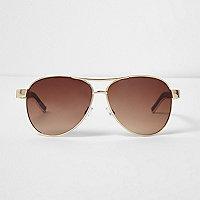Gold tone tortoise aviator-style sunglasses