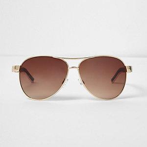 Goldfarbene Pilotensonnenbrille mit Schildpattmuster