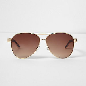 Gold tone tortoise pilot sunglasses