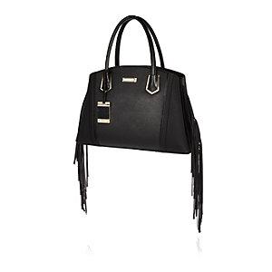 Black fringed tote handbag