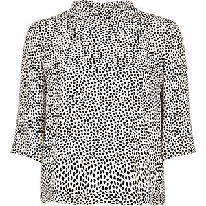 White spot print high neck top