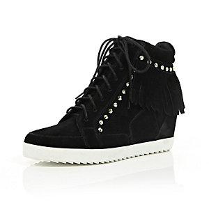 Black suede fringed high top wedge sneakers