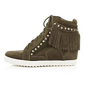 Khaki suede fringed high top wedge sneakers