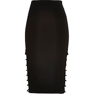 Black open side pencil skirt