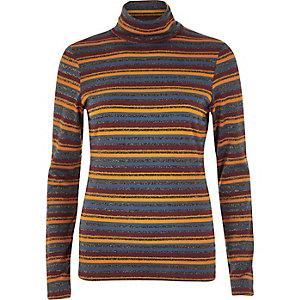 Orange stripe metallic polo neck