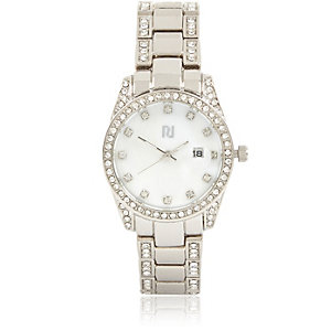 Silver tone diamante encrusted watch
