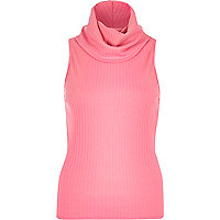 Pink ribbed cowl neck sleeveless top