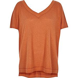 Orange linen-blend V-neck top