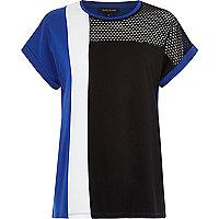 Blue mesh insert colour block t-shirt