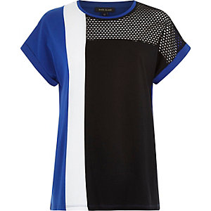 Blue mesh insert colour block t-shirt