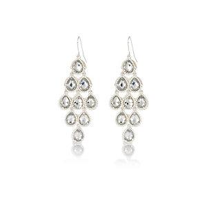 Silver tone crystal dangle earrings