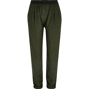 Khaki green woven jogger trousers