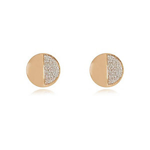 Gold tone glittery half stud earrings