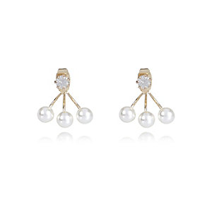 Cream crystal front and back earrings