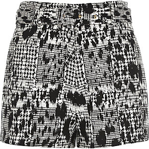 Black jacquard high waisted belted shorts