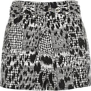 Black jacquard high waisted belted shorts