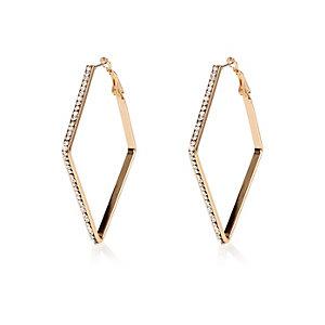 Gold tone encrusted square hoop earrings
