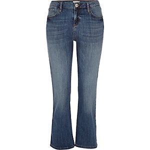 Mid wash denim cropped kick flare jeans