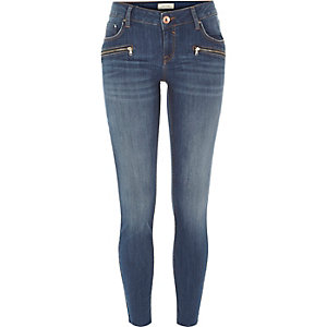 Mid wash low rise Amelie superskinny jeans