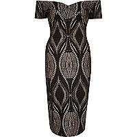 Black lace bodycon bardot dress