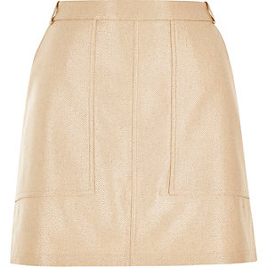 Gold metallic utility mini skirt
