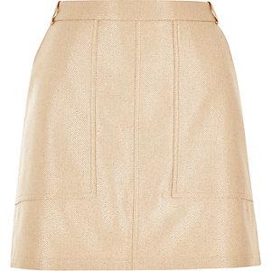 Gold metallic utility mini skirt