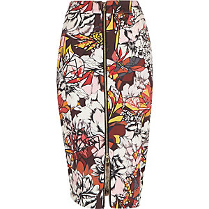 Red graphic print zip front pencil skirt