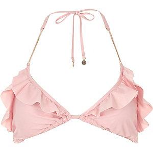 Pink frilly triangle bikini top